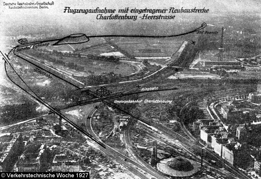Bild: Luftbild mit eingezeichnetem Streckenverläufen