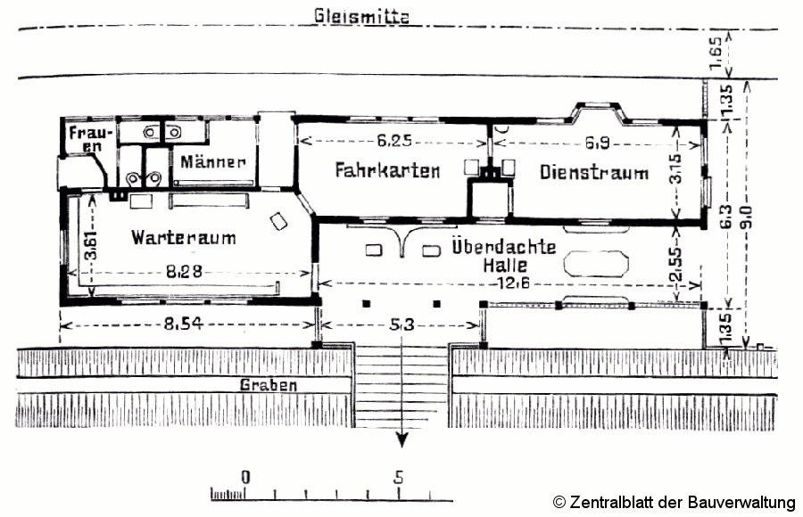 Bild: Grundrißzeichnung Empfangsgebäude