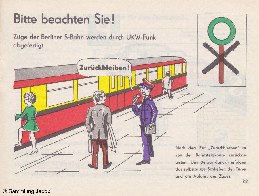 Bild: Warnhinweis Fahrplanheft Oktober 1972