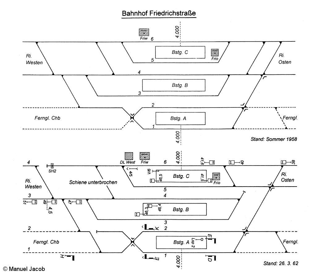 Bild: Gleisplan vor und nach dem Bau der Berliner Mauer