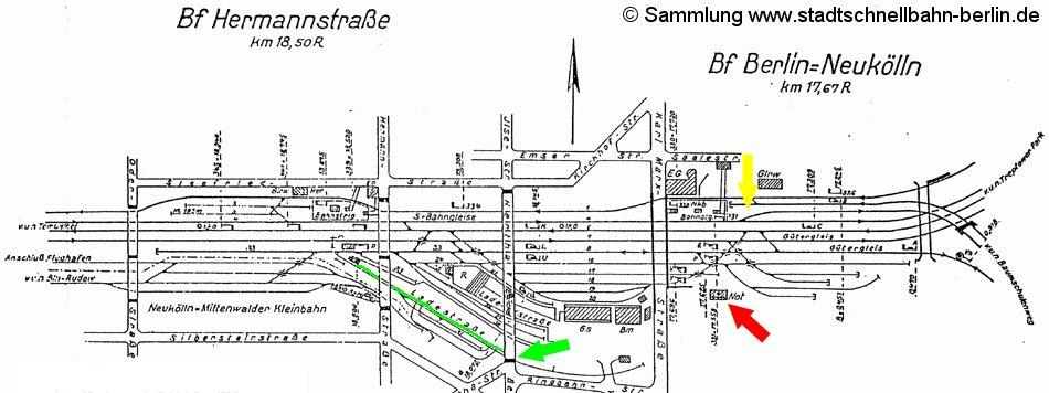 Bild: Gleisplan Neukölln von 1962