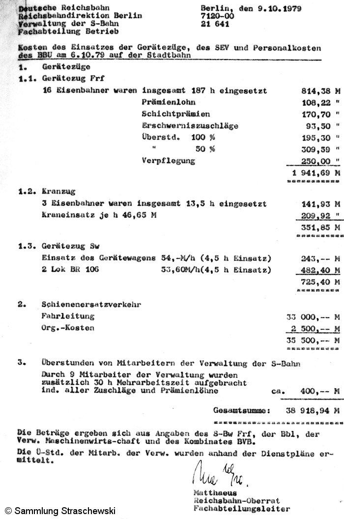 Bild: Faksimilie der Kosten