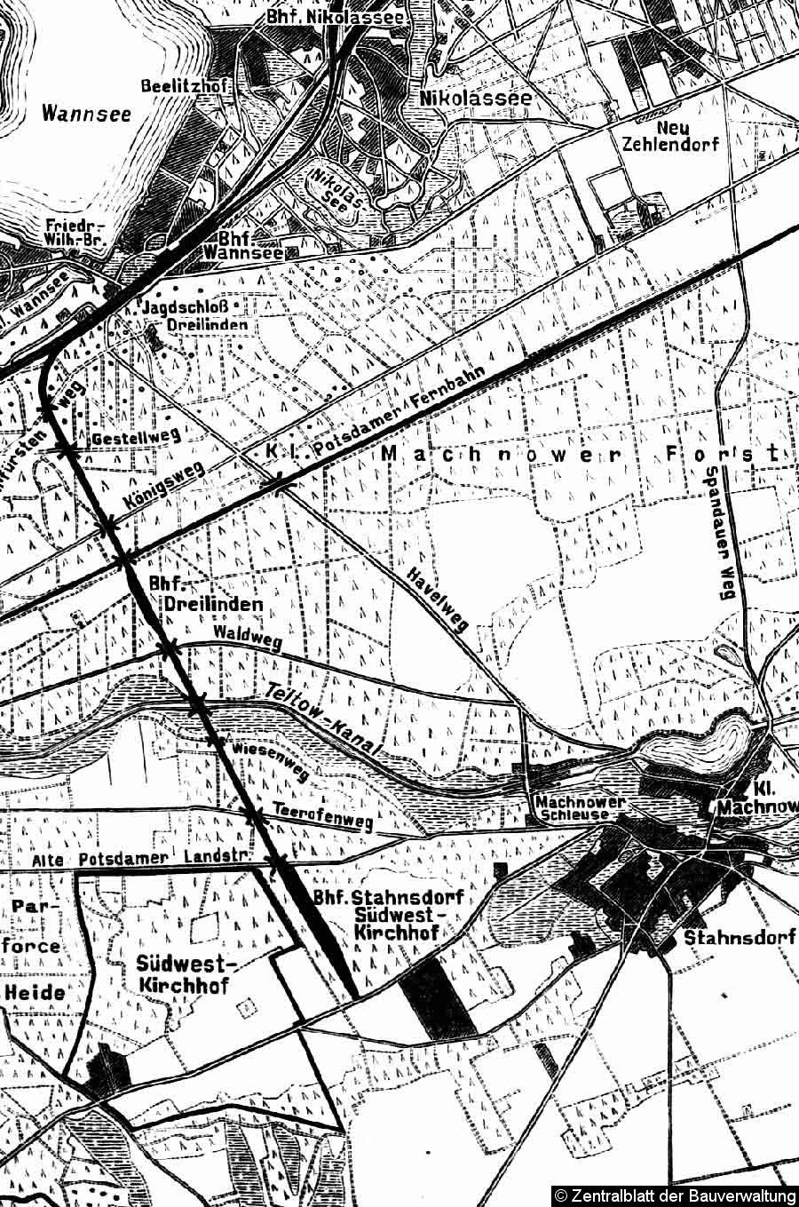 Bild: Übersichtsplan der Friedhofsbahn