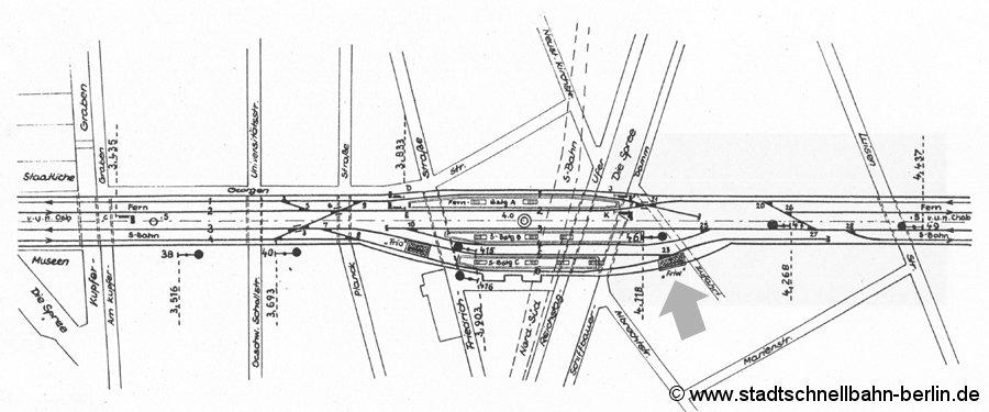 Bild: Gleisplan Friedrichstraße 1967